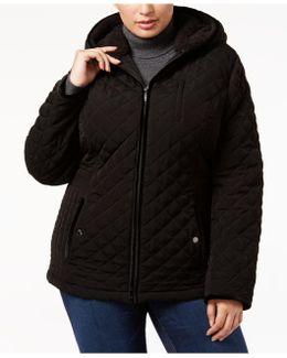 Plus Size Faux-fur-trim Quilted Coat