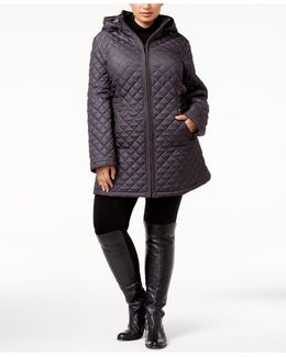 Plus Size Hooded Quilted Puffer Coat