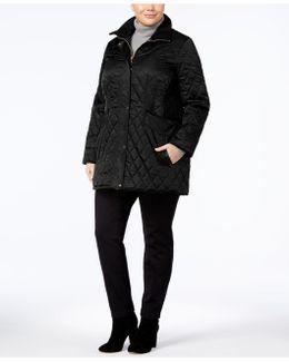 Plus Size Velvet-trim Quilted Coat