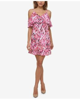 Printed Cold-shoulder Popover Dress