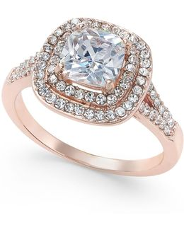 Rose Gold-tone Stone And Crystal Double Halo Statement Ring