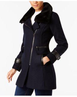 Shearling-trim Asymmetrical Coat