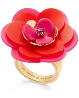 Gold-tone Pink Crystal Accent Flower Ring