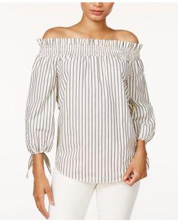 Cotton Poplin Printed Off-the-shoulder Top
