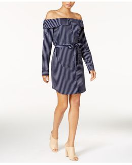 Cotton Belted Off-the-shoulder Shirtdress