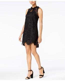 High-neck Lace Shift Dress