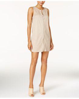 Faux-suede Convertible Vest Dress