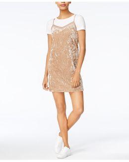 Velvet Layered-look Slip Dress