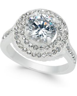 Silver-tone Crystal Halo Ring