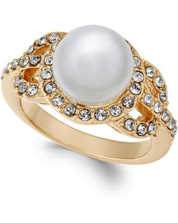 Gold-tone Pavé & Imitation Pearl Ring