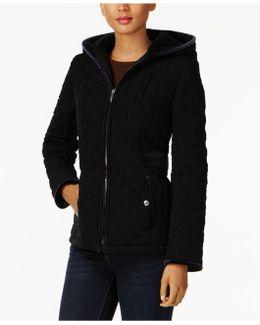Petite Velvet-trim Quilted Coat