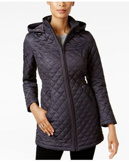 Petite Marled Quilted Coat