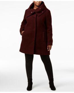 Plus Size Textured Envelope-collar Walker Coat