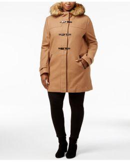 Plus Size Faux-fur-trimmed Toggle Walker Coat