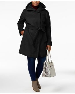 Plus Size Hooded Belted Walker Coat