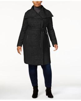 Plus Size Faux-leather-trim Walker Coat