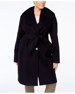 Plus Size Asymmetrical Belted Coat