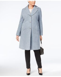 Plus Size Notched Shawl-collar Walker Coat