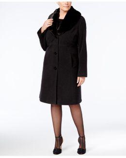 Plus Size Faux-fur-collar Walker Coat