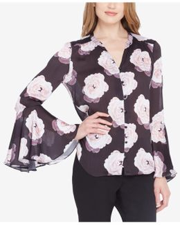 Floral-print Bell-sleeve Blouse