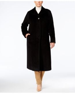 Plus Size Wool-blend Maxi Walker Coat