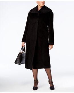 Plus Size Textured Maxi Walker Coat