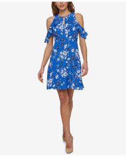 Printed Cold-shoulder Surplice Dress