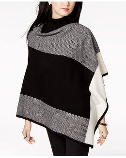 Cashmere Colorblocked Poncho Sweater