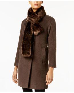 Petite Faux-fur-scarf Walker Coat