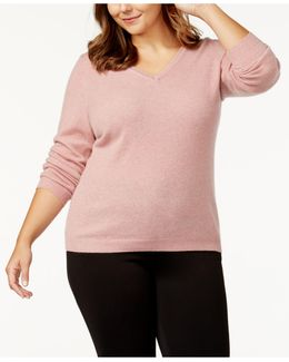 Plus Size Cashmere V-neck Sweater