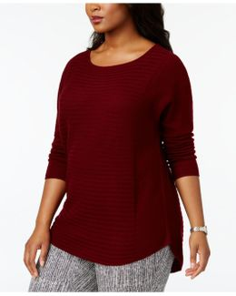 Plus Size Cashmere Ribbed High-low Sweater