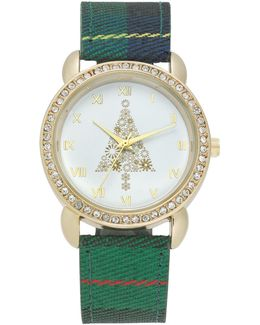 Women's Plaid Fabric Strap Watch 34mm