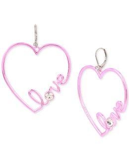 Pink-tone Crystal Love Heart Drop Earrings