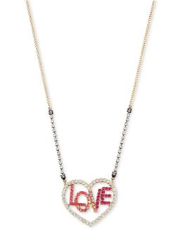Two-tone Clear & Colored Pavé Love Heart Pendant Necklace