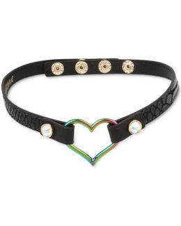 Two-tone Open Heart Black Leather Choker Necklace