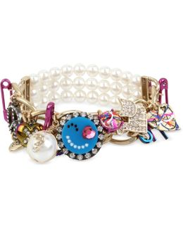 Multi-tone Multicolor Crystal & Imitation Pearl Large Charm Stretch Bracelet