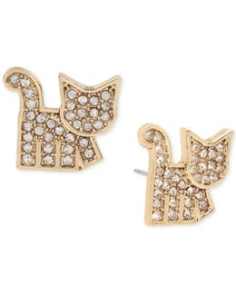 Gold-tone Pavé Cat Stud Earrings