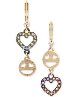 Two-tone Pavé Emoji & Heart Mismatch Earrings