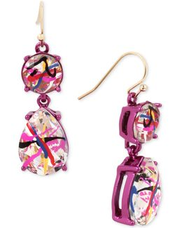 Pink-tone Graffiti-print Crystal Drop Earrings