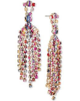 Gold-tone Graffiti-print Crystal Chandelier Earrings
