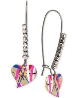 Two-tone Pavé & Graffiti Heart Drop Earrings