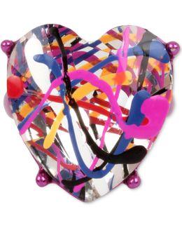 Fuchsia-tone Crystal Graffiti Heart Ring