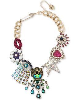 Multi-tone Multicolor Crystal & Imitation Pearl Large Charm Statement Necklace