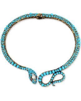 Gold-tone Multi-stone Snake Statement Necklace
