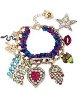 Gold-tone Woven Multi-charm Bracelet