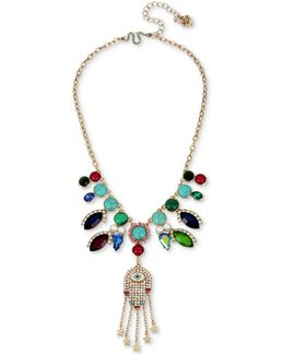 Gold-tone Stone, Imitation Pearl & Pavé Hamsa Hand Statement Necklace