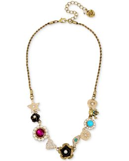 Gold-tone Multi-charm Link Collar Necklace