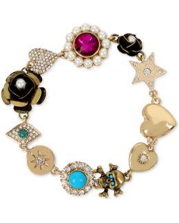 Gold-tone Multi-charm Link Bracelet