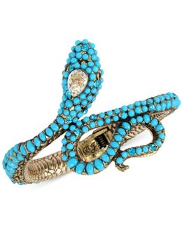 Gold-tone Stone & Crystal Snake Hinged Cuff Bracelet
