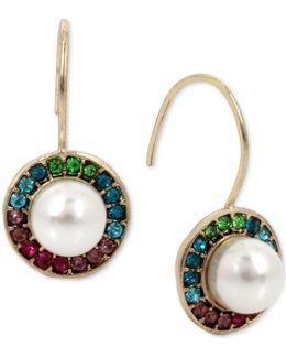 Gold-tone Imitation Pearl & Rainbow Crystal Halo Drop Earrings